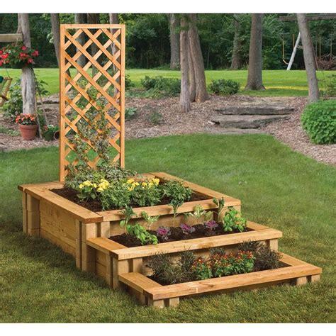 garden blocks steps lattice rain barrels