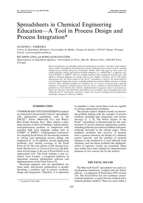 process design tool spreadsheets in chemical engineering education a tool in