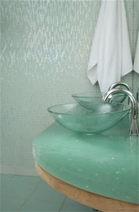 recycled glass tiles bathroom recycled crush glass countertop contemporary bathroom