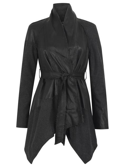 leather swing coat malabo leather wool swing coat in black