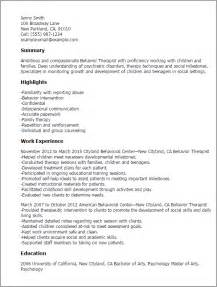 Activity Therapist Cover Letter by Professional Behavior Therapist Templates To Showcase Your Talent Myperfectresume
