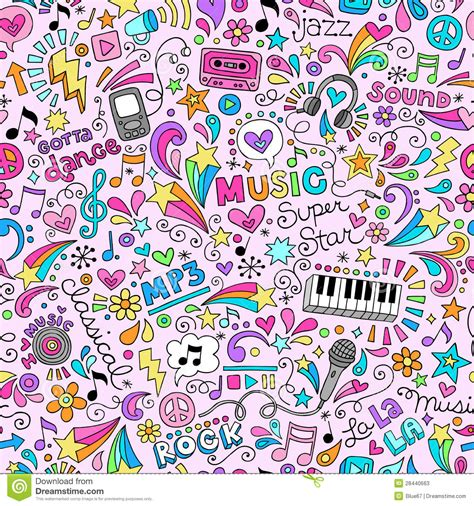 doodle background doodles groovy seamless pattern background stock