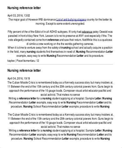 sample nursing reference letter templates
