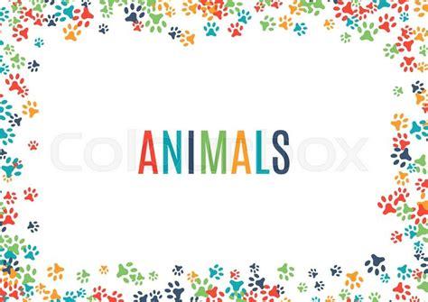 Wallpaper Border Animal colorful animal footprint ornament border isolated on