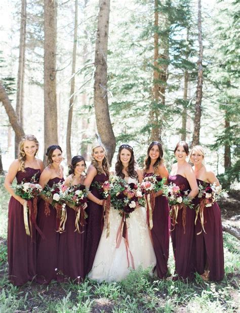 Dress Syahrini Maroon Ab fall wedding inspiration maroon bridesmaids in wine lace and mesh david s bridal