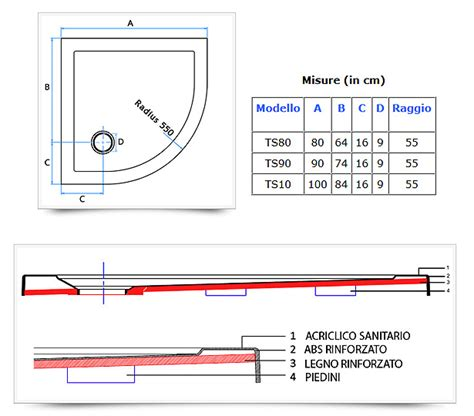 cabine doccia misure piatto doccia semicircolare angolare ultraflat in acrilico
