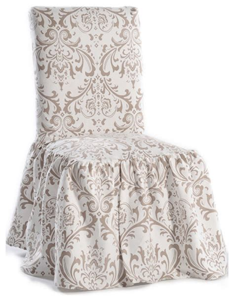 ruffled chair cover pattern damask print ruffled dining chair slipcovers set of 2