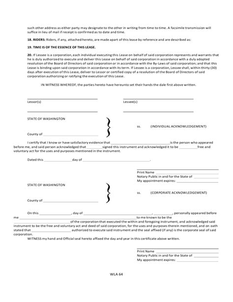 rental agreement template washington state washington commercial lease agreement free