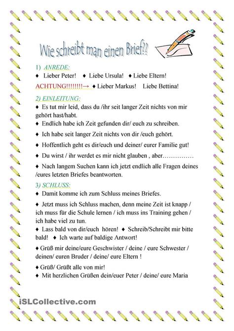 Deutschland Briefformat 25 Best Ideas About Brief On Vorlage