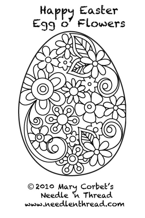 free hand embroidery pattern easter egg o flowers