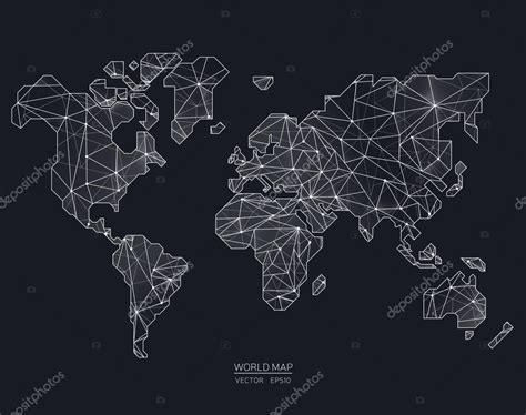 world map illustration 2 vector world map illustration in polygonal style stock