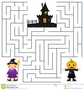 halloween maze scarecrow amp witch stock vector image 44776185