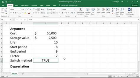 vdb calculating declining balance depreciation for a