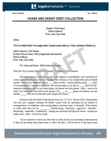 Debt Collection Dispute Letter Template Uk Cease And Desist Letter C D Create A Cease Desist Template