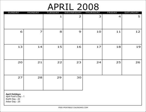 April 2008 Calendar 2008 Free Printable Calendars Free Printable Calendars