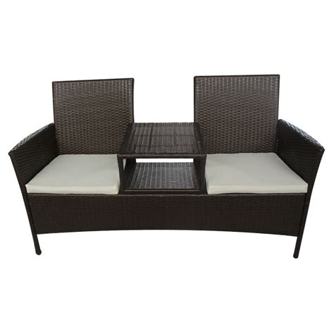 two seater bench vidaxl brown poly rattan two seater bench with tea table