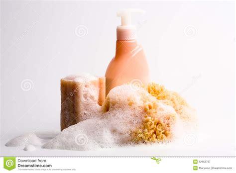 soap sponge and shower gel royalty free stock