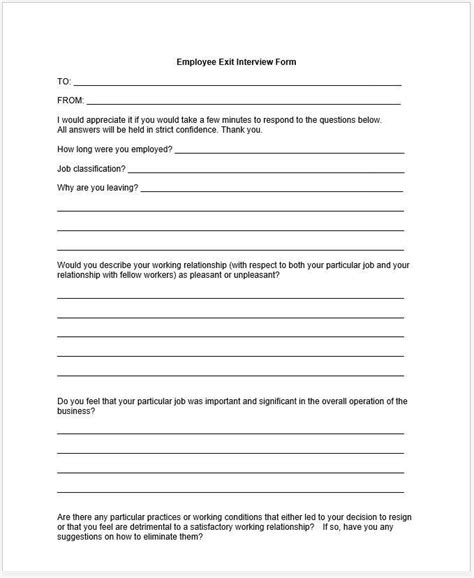 employee exit template word employee termination checklist and exit