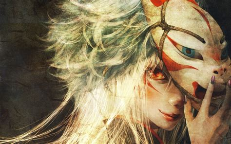 anime girl white hair wallpaper anime girls faces masks red eyes white hair walldevil