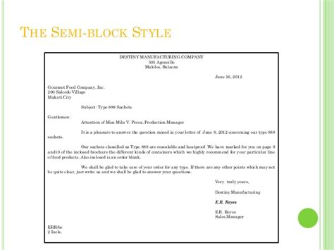 Semi Block Style Business Letter Definition Business Letters