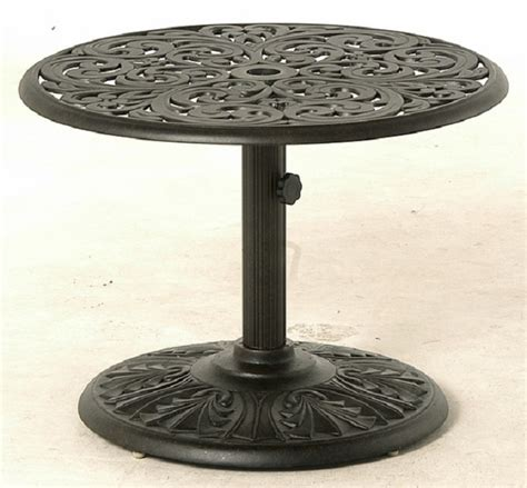 Umbrella Side Table Chateau By Hanamint Luxury Cast Aluminum Patio Furniture 30 Quot Side Umbrella Side Table