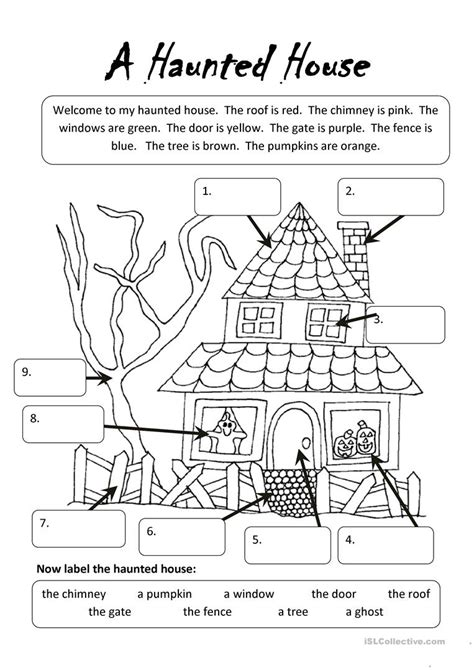 home design worksheet a haunted house worksheet free esl printable worksheets