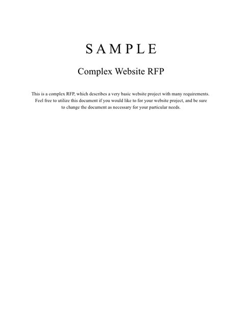 response to request for template complex website rfp sle