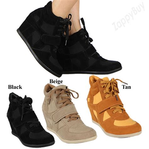 new womens wedge heel sneaker shoes velcro lace up black