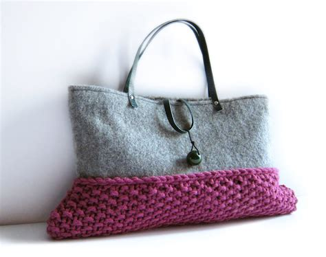 bags to knit wool bag knitted purse grey flannel pink chunky knit by memake