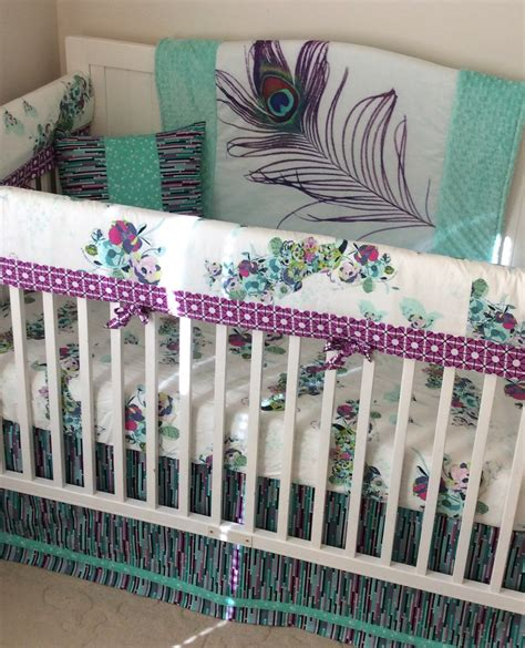 peacock crib bedding baby crib bedding set teal purple mint peacock made to
