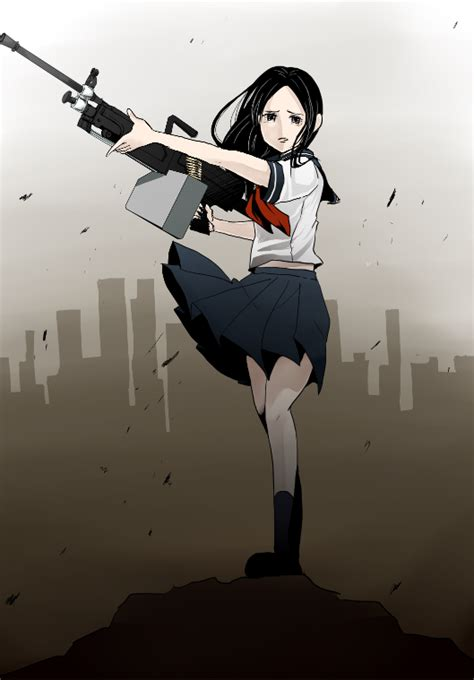 Girlset Kp Black 081789 1girl black hair gun heavy machine gun kamiji kp 775 hair machine gun ryuu ga gotoku