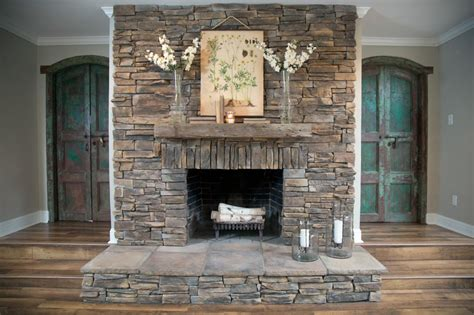 stacked stone fireplace pictures resurfaced dry stack stone fireplace hgtv
