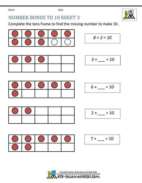 Number Bond Worksheets by Number Bonds To 10 Worksheets