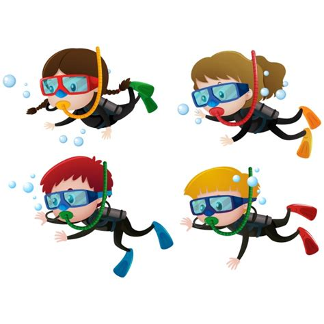 boat without mask clipart kids practising diving vector free download