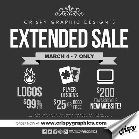 extended sale at crispy graphic design