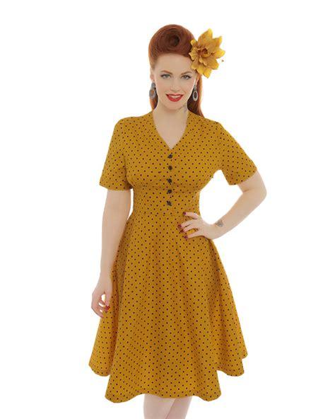 Three Of The Best Tea Dresses by Ionia Mustard Polka Dot Tea Dress Vintage Style Dresses