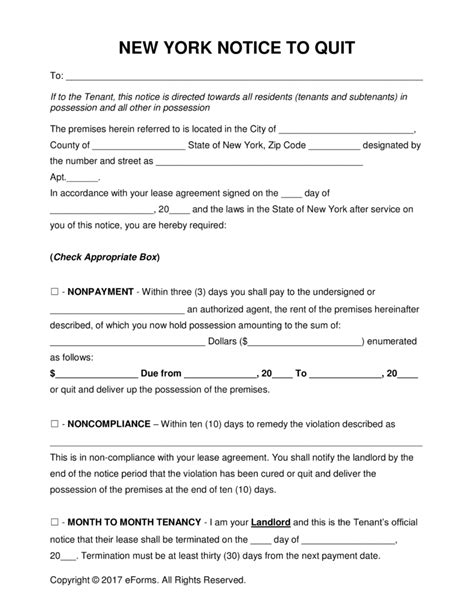Lease Termination Letter New York Free New York Eviction Notice Forms Process And Laws Word Pdf Eforms Free Fillable Forms