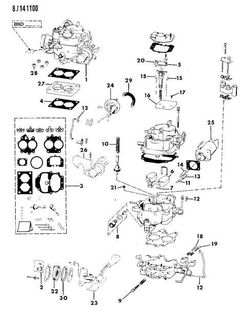 Jeep Wagoneer Parts 1989 Jeep Wrangler Carburetor And Component Parts 4 2l