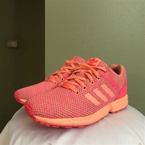 adidas shoes zx flux salmon pink color mens 6 womens 8 poshmark