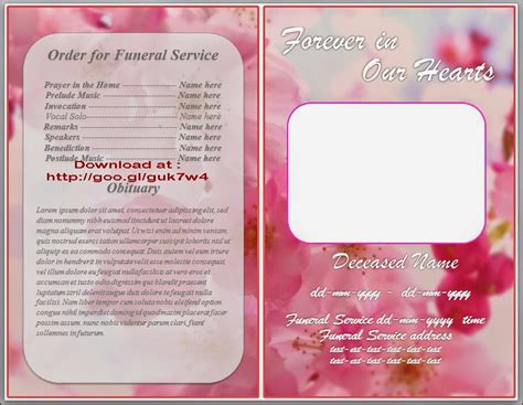 free downloadable obituary templates free funeral memorial order of service program obituary