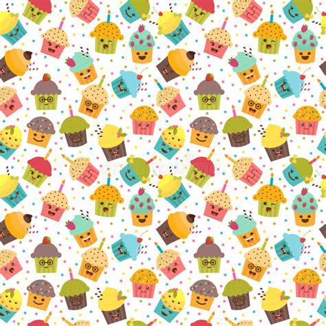 pattern birthday cute birthday background kawaii cupcakes seamless pattern