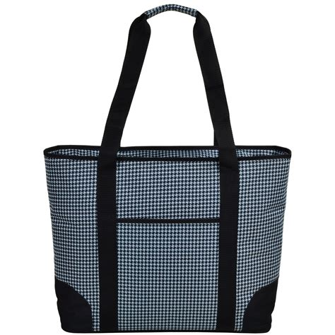 insulated tote bag pattern houndstooth large insulated tote bag