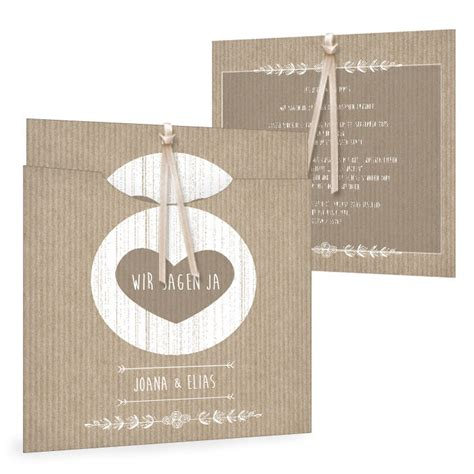 Hochzeitskarten Einsteckkarten by Moderne Hochzeitseinladung Im Packpapier Design Mit Herz