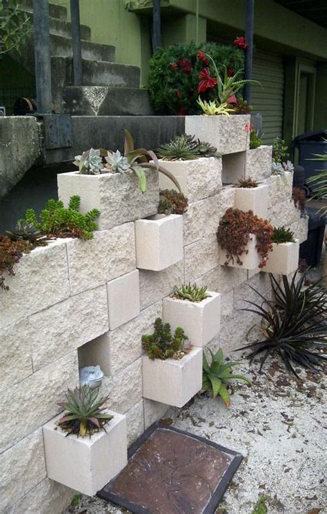 cinder block wall planter outdoor and landscaping