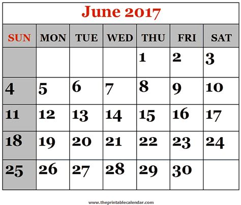 Calendar Of June June 2017 Printable Calendars