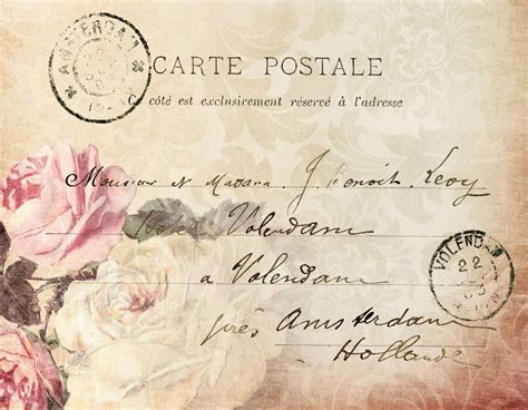 printable french postcards pink rose french postcard with handwriting vintage