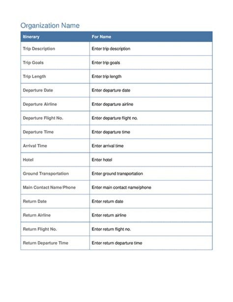 business travel plan template business trip itinerary with meeting schedule office