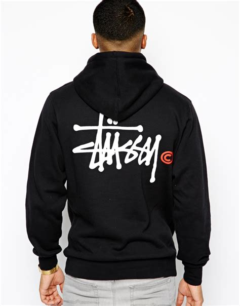 Hoodie Sweater Stussy 1 stussy hoodie basic logo back print in black for lyst