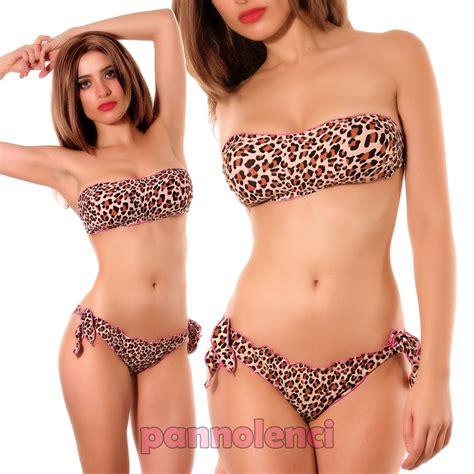 costume bagno donna donna costume da bagno mare fascia leopardato