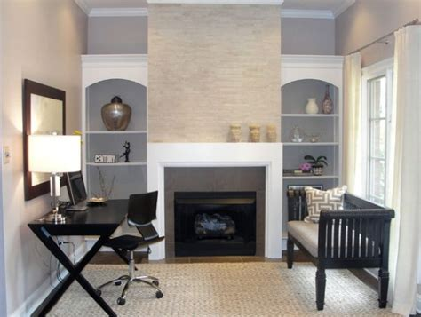 Office Design Ideas For Small Spaces Minimalist Work Station In Beautiful And Sleek Black Next To A Fireplace Decoist